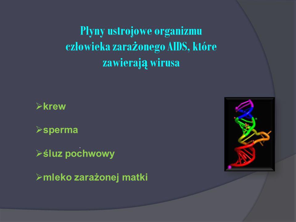Płyny ustrojowe organizmu człowieka zarażonego AIDS, które zawierają wirusa