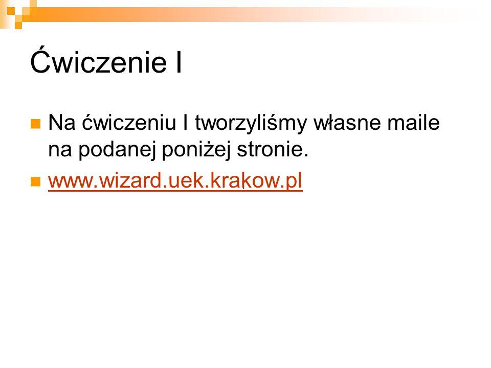 Ćwiczenie I Na ćwiczeniu I tworzyliśmy własne maile na podanej poniżej stronie. www.wizard.uek.krakow.pl.