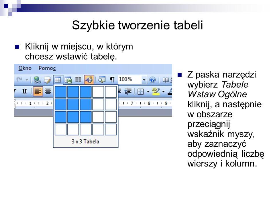 Szybkie tworzenie tabeli