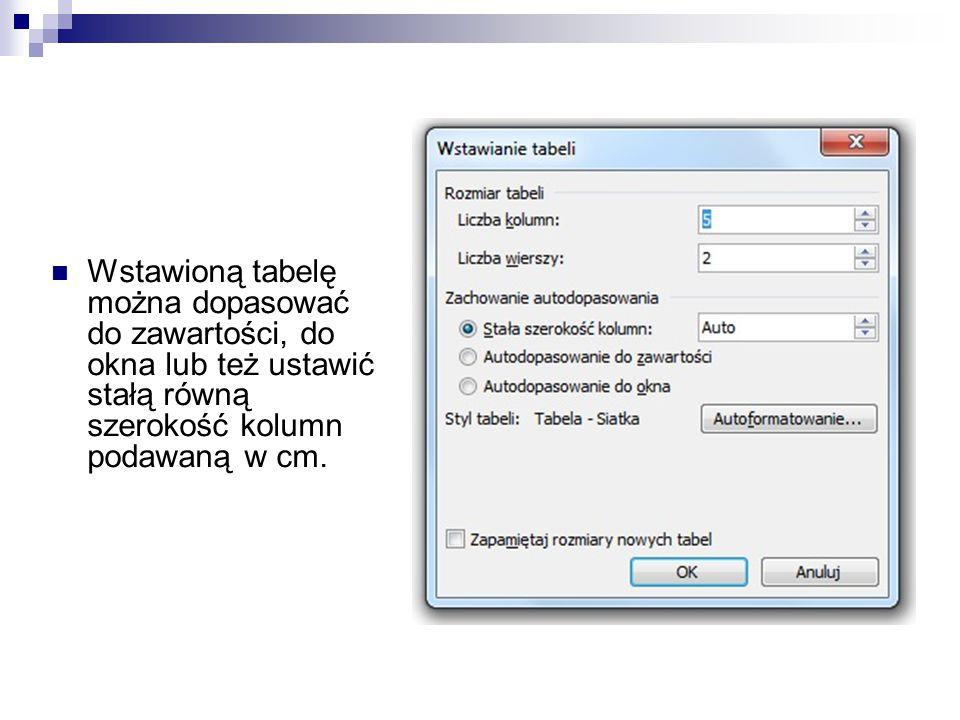 Wstawioną tabelę można dopasować do zawartości, do okna lub też ustawić stałą równą szerokość kolumn podawaną w cm.