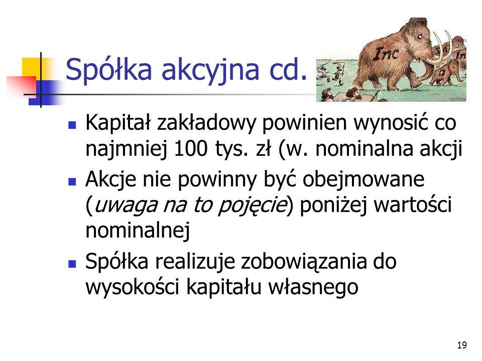 Spółka akcyjna cd. Kapitał zakładowy powinien wynosić co najmniej 100 tys. zł (w. nominalna akcji.