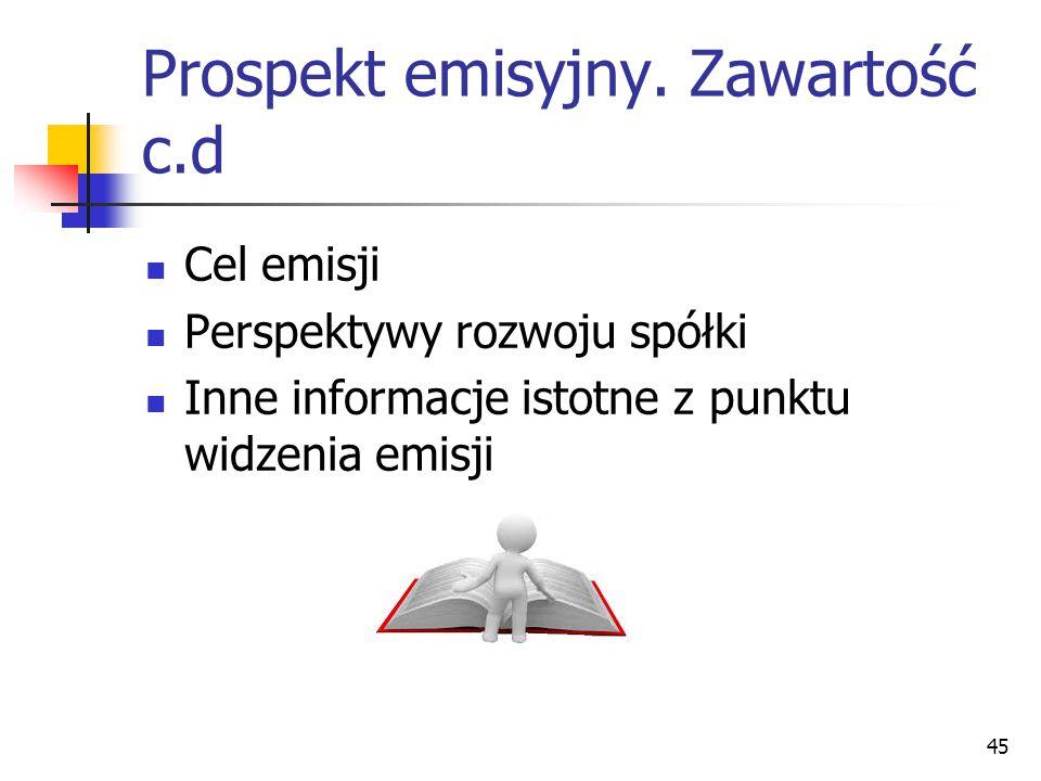 Prospekt emisyjny. Zawartość c.d
