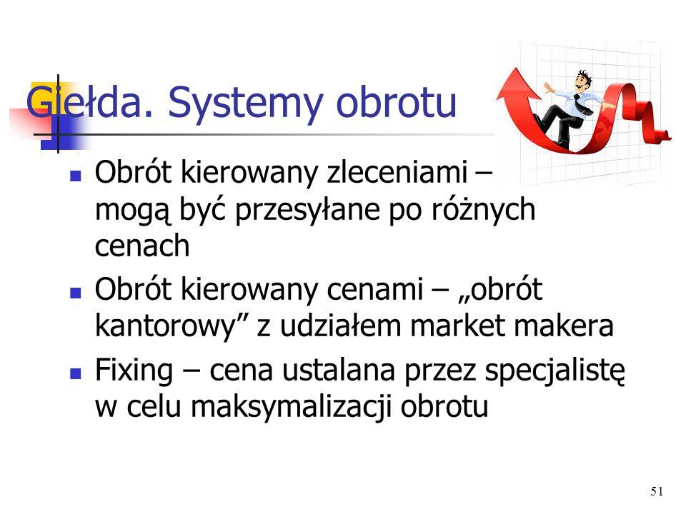 Giełda. Systemy obrotu Obrót kierowany zleceniami – zlecenia mogą być przesyłane po różnych cenach.