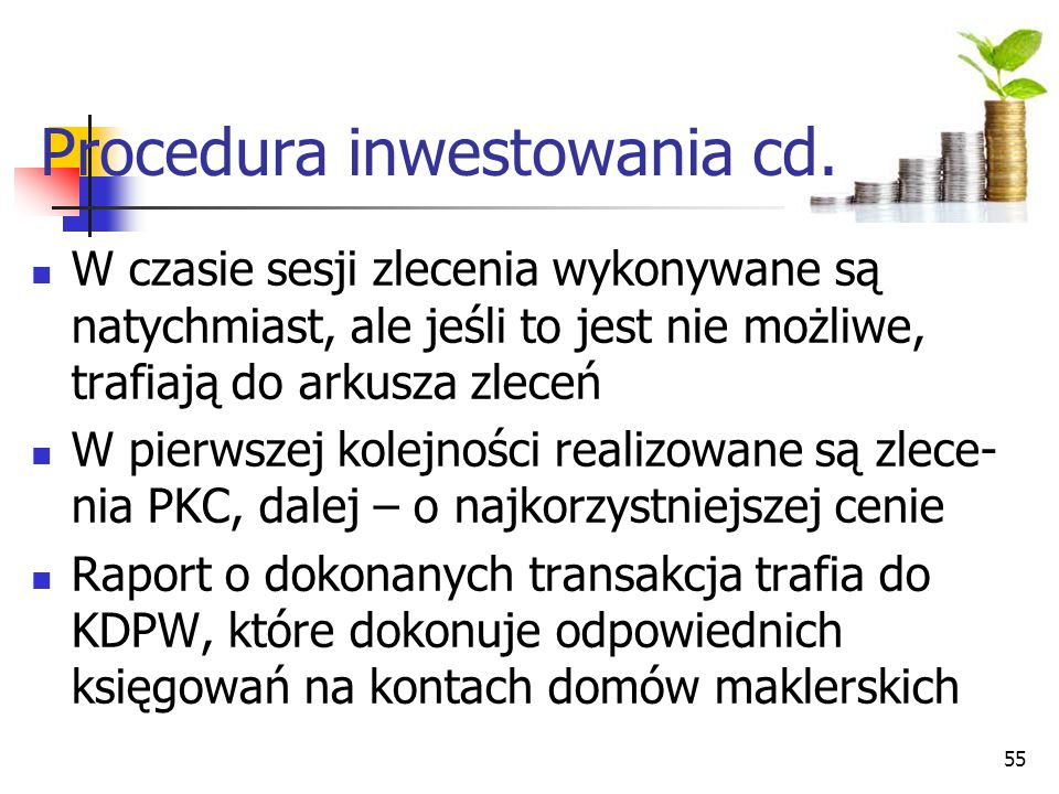 Procedura inwestowania cd.
