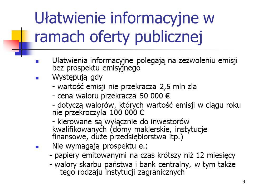 Ułatwienie informacyjne w ramach oferty publicznej