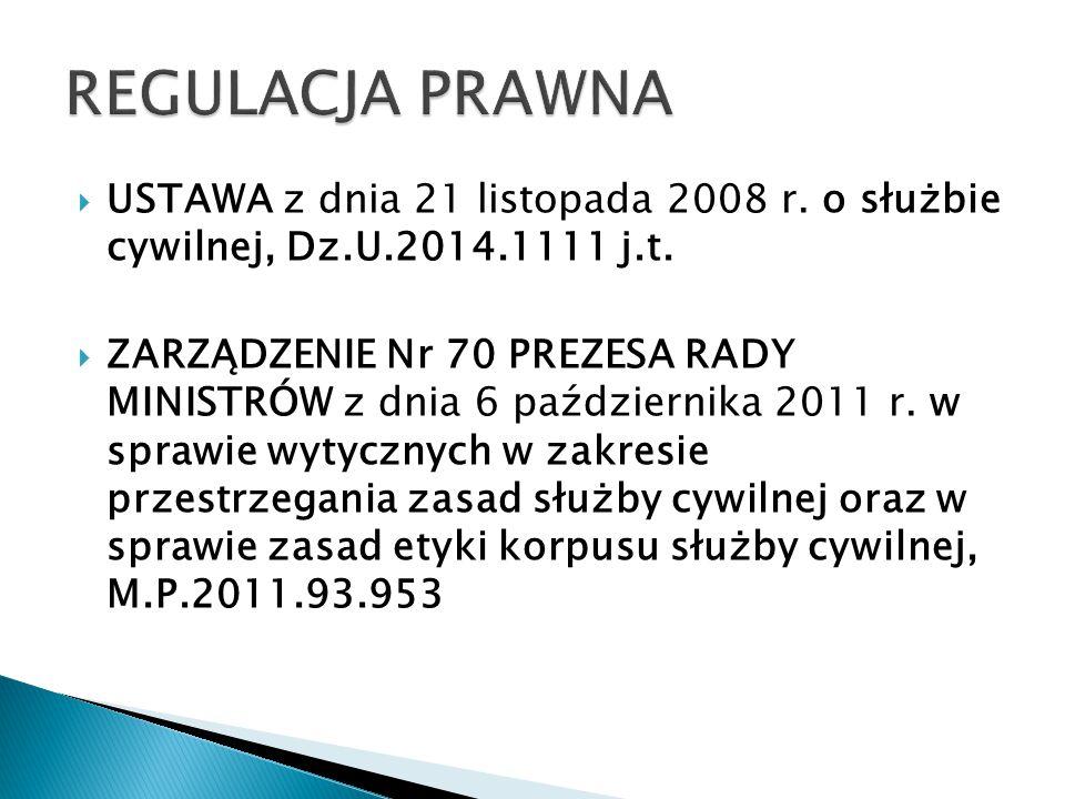 REGULACJA PRAWNA USTAWA z dnia 21 listopada 2008 r. o służbie cywilnej, Dz.U.2014.1111 j.t.