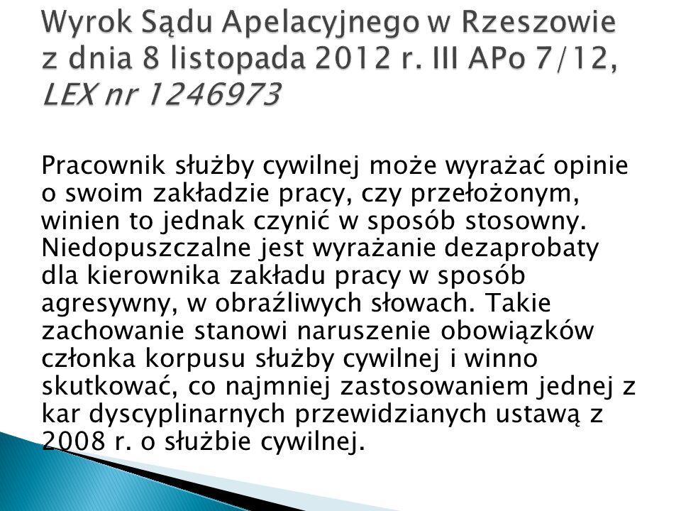 Wyrok Sądu Apelacyjnego w Rzeszowie z dnia 8 listopada 2012 r