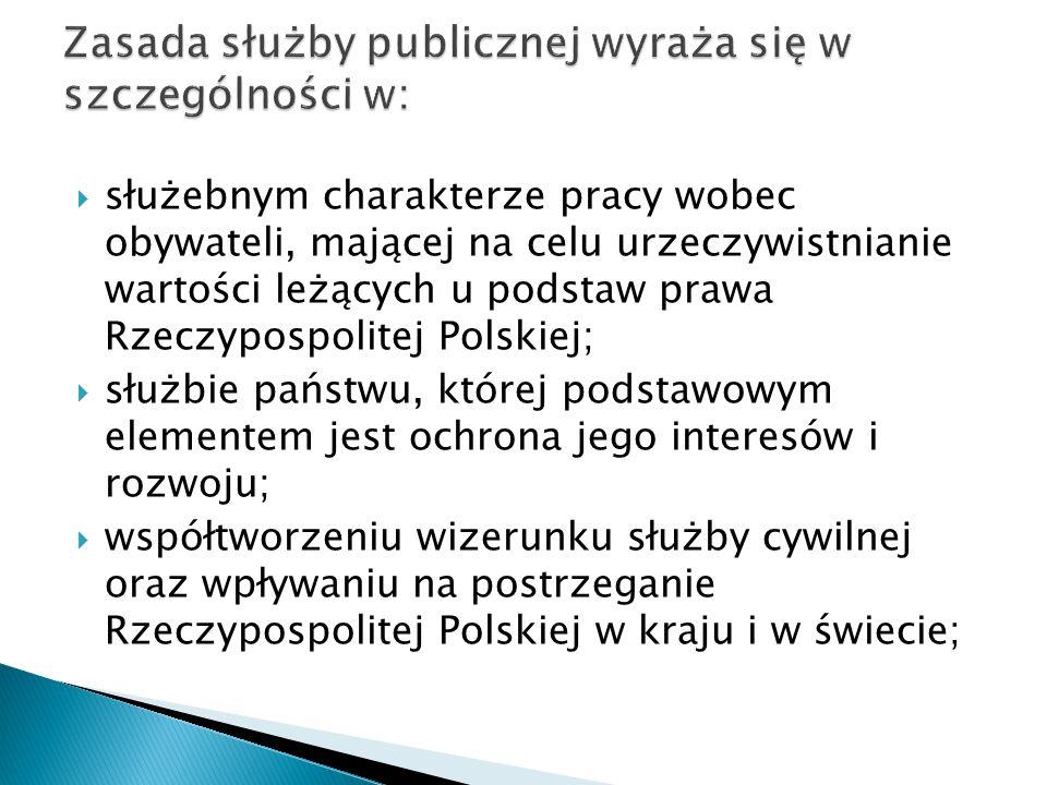 Zasada służby publicznej wyraża się w szczególności w: