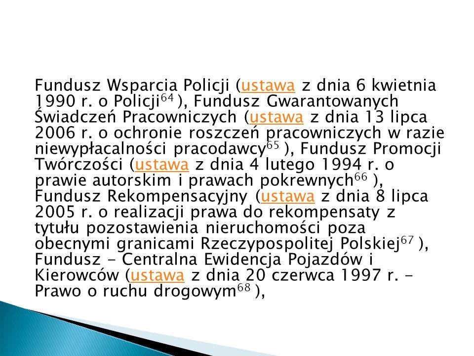 Fundusz Wsparcia Policji (ustawa z dnia 6 kwietnia 1990 r
