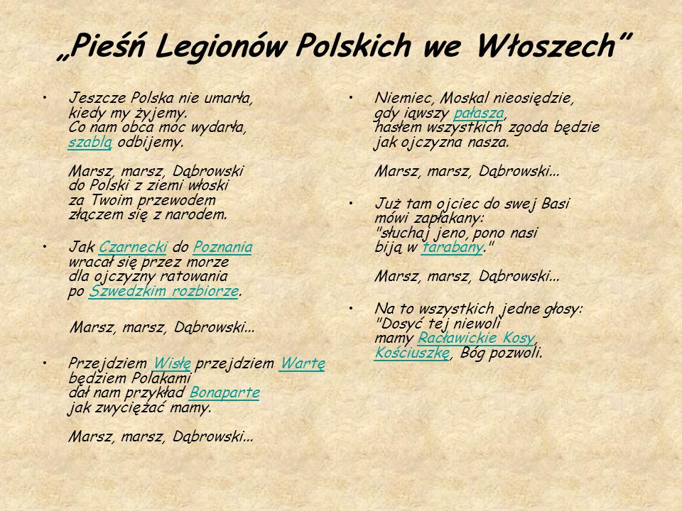 """""""Pieśń Legionów Polskich we Włoszech"""