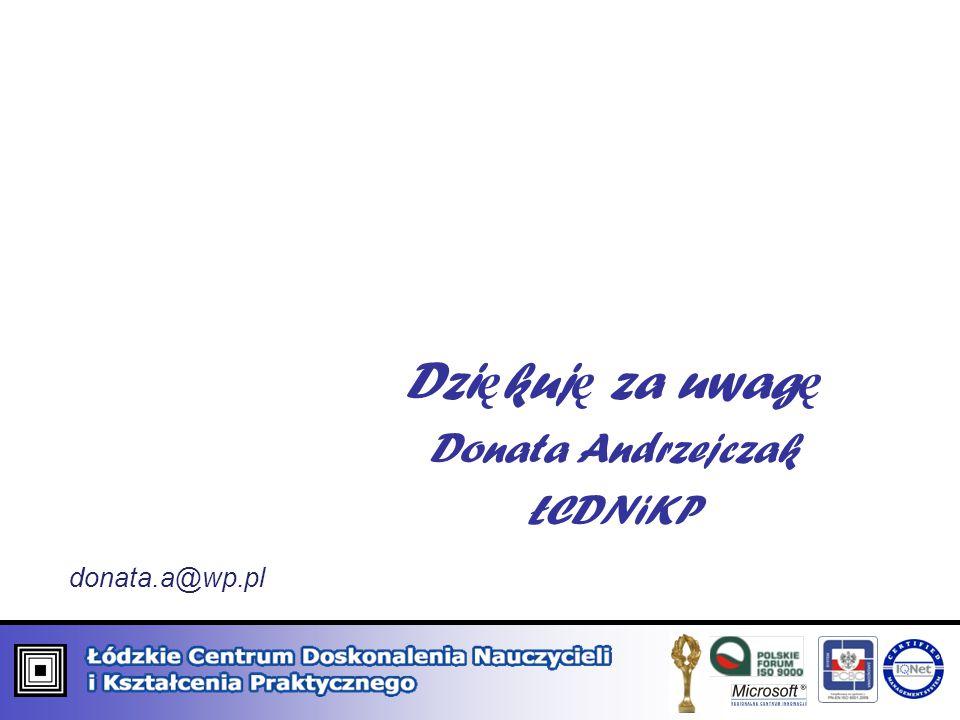 Dziękuję za uwagę Donata Andrzejczak ŁCDNiKP