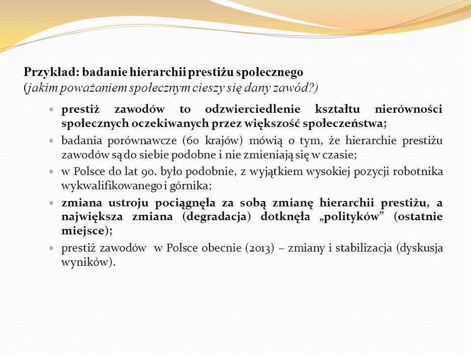 Przykład: badanie hierarchii prestiżu społecznego (jakim poważaniem społecznym cieszy się dany zawód )