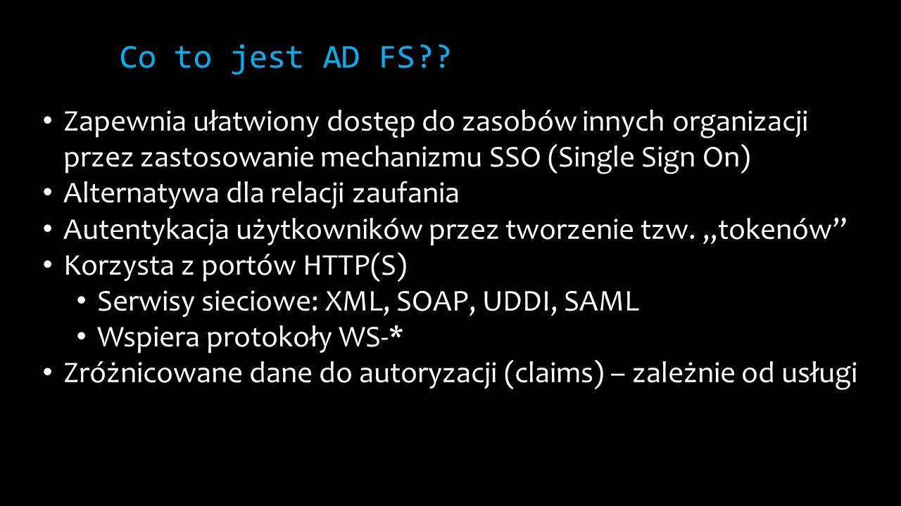 Co to jest AD FS Zapewnia ułatwiony dostęp do zasobów innych organizacji przez zastosowanie mechanizmu SSO (Single Sign On)