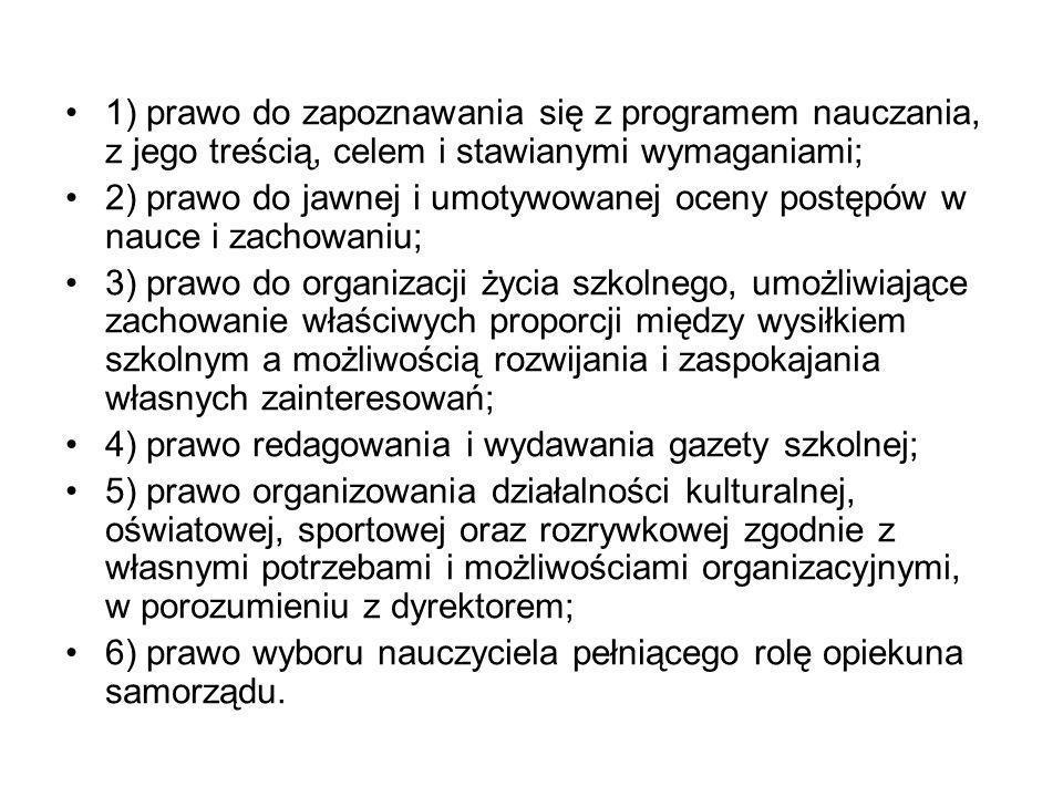 1) prawo do zapoznawania się z programem nauczania, z jego treścią, celem i stawianymi wymaganiami;