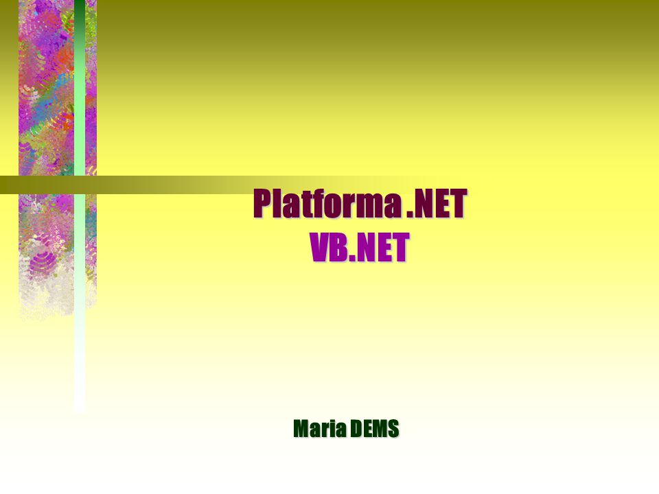 Platforma .NET VB.NET Maria DEMS