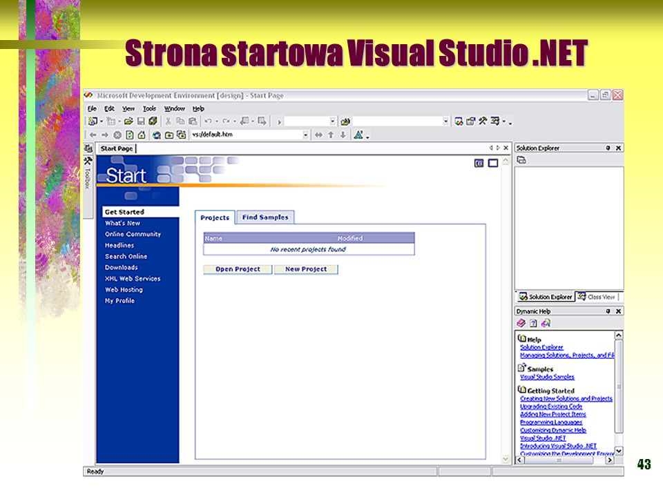 Strona startowa Visual Studio .NET