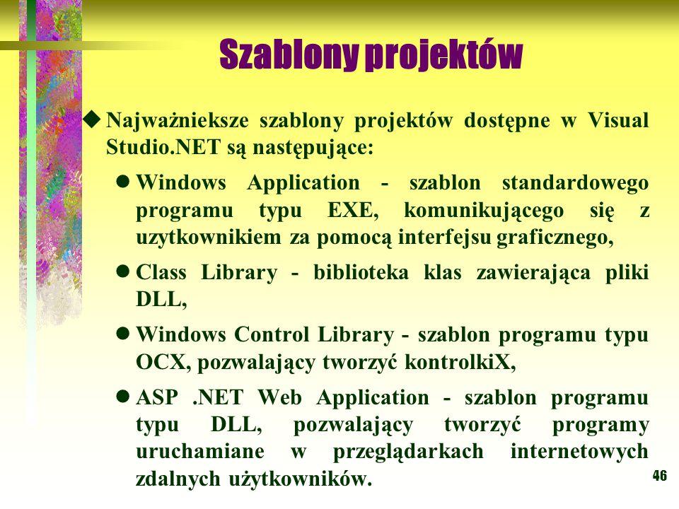 Szablony projektów Najważnieksze szablony projektów dostępne w Visual Studio.NET są następujące: