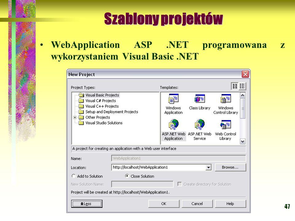 Szablony projektów WebApplication ASP .NET programowana z wykorzystaniem Visual Basic .NET