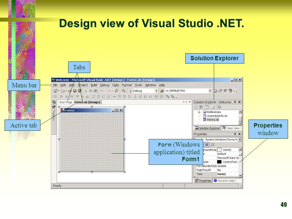 Design view of Visual Studio .NET.
