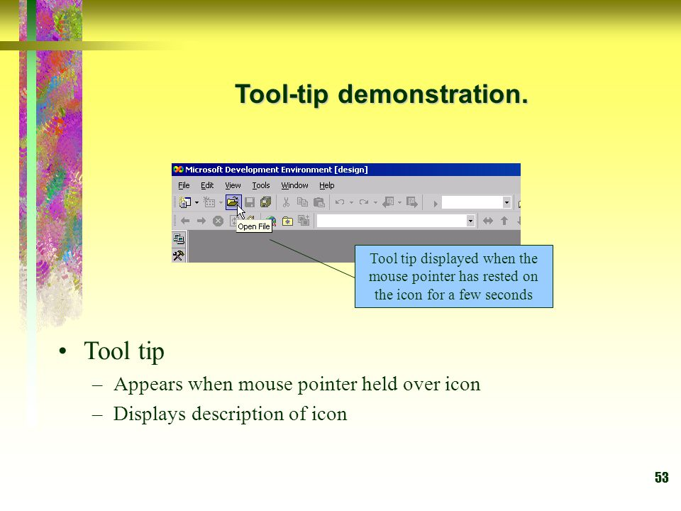 Tool-tip demonstration.