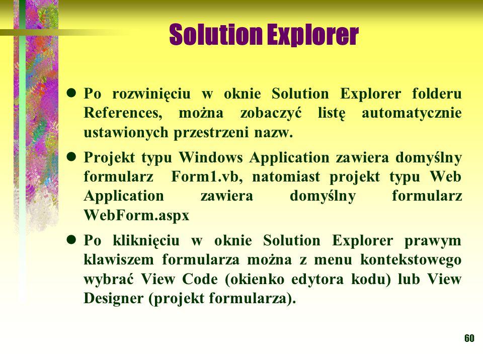 Solution Explorer Po rozwinięciu w oknie Solution Explorer folderu References, można zobaczyć listę automatycznie ustawionych przestrzeni nazw.
