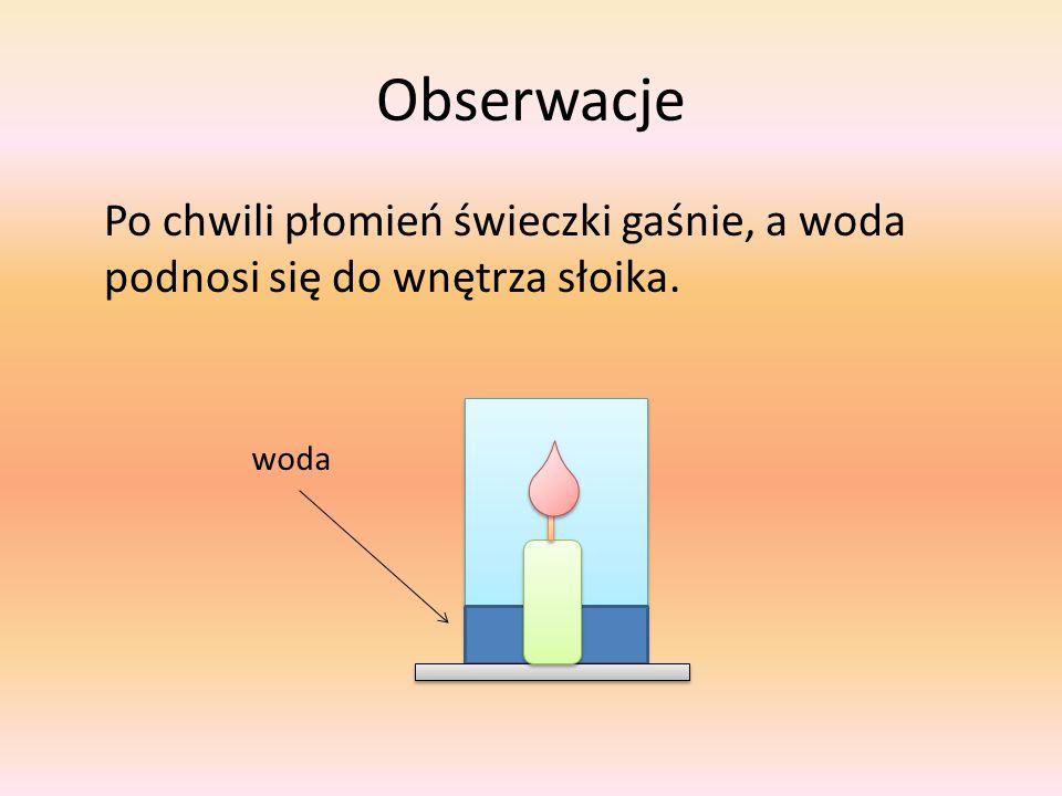 Obserwacje Po chwili płomień świeczki gaśnie, a woda podnosi się do wnętrza słoika. woda