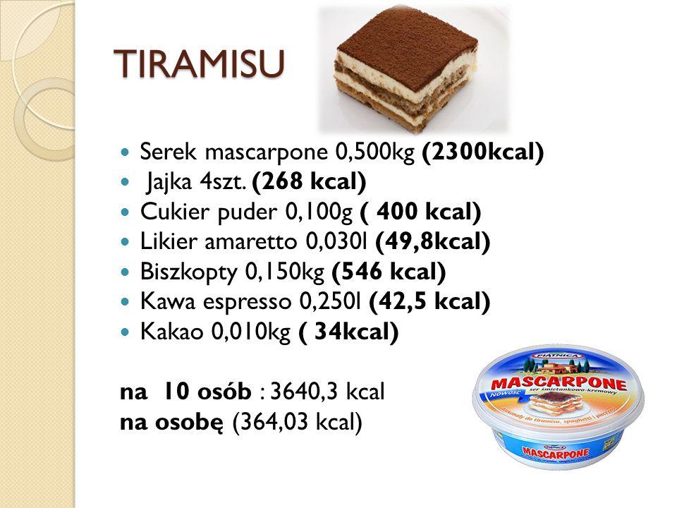 TIRAMISU Serek mascarpone 0,500kg (2300kcal) Jajka 4szt. (268 kcal)