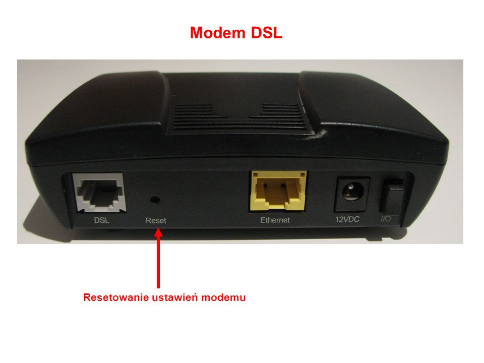 Modem DSL Resetowanie ustawień modemu