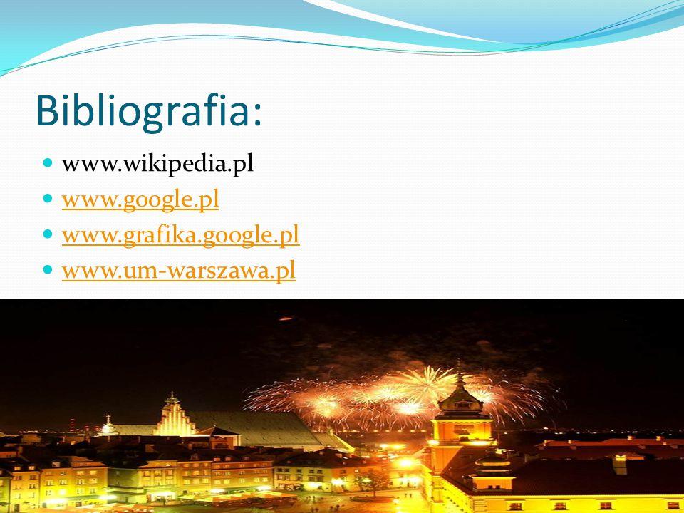 Bibliografia: www.wikipedia.pl www.google.pl www.grafika.google.pl