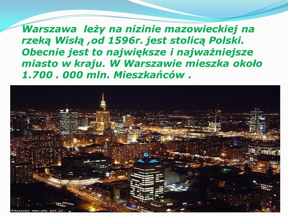 Warszawa leży na nizinie mazowieckiej na rzeką Wisłą ,od 1596r