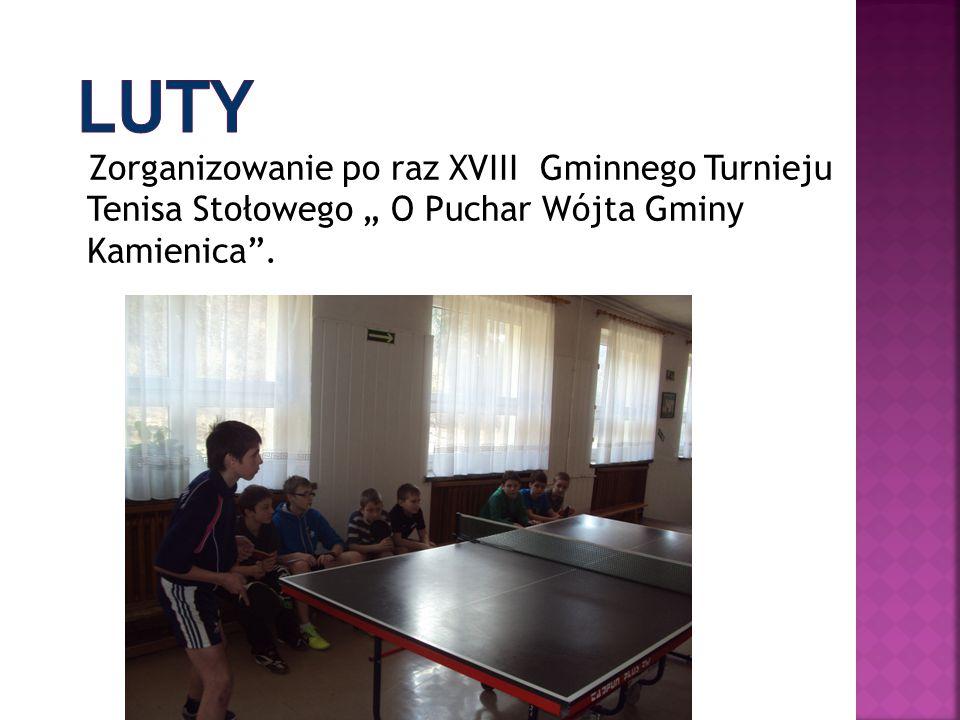 """LUTY Zorganizowanie po raz XVIII Gminnego Turnieju Tenisa Stołowego """" O Puchar Wójta Gminy Kamienica ."""