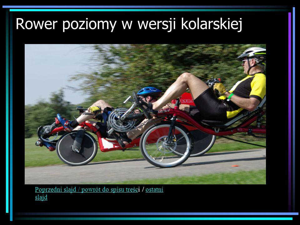 Rower poziomy w wersji kolarskiej