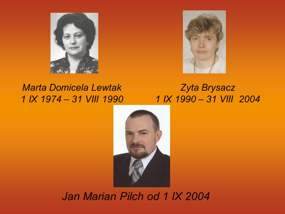 Jan Marian Pilch od 1 IX 2004 Marta Domicela Lewtak