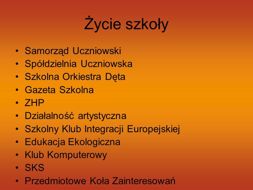 Życie szkoły Samorząd Uczniowski Spółdzielnia Uczniowska