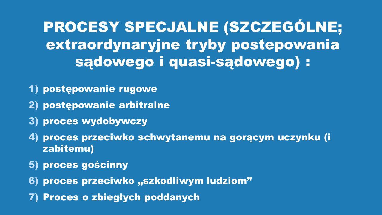 PROCESY SPECJALNE (SZCZEGÓLNE; extraordynaryjne tryby postepowania sądowego i quasi-sądowego) :