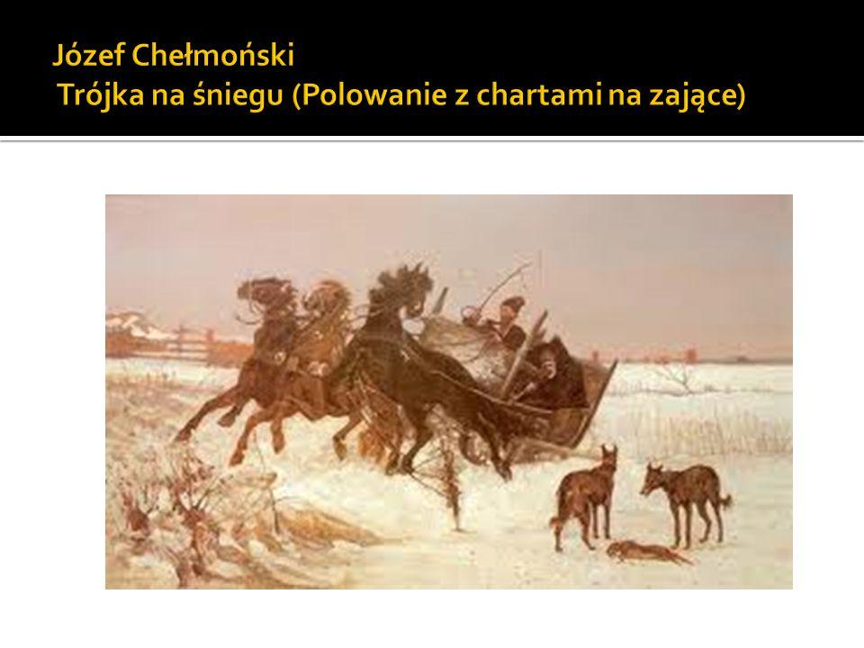 Józef Chełmoński Trójka na śniegu (Polowanie z chartami na zające)
