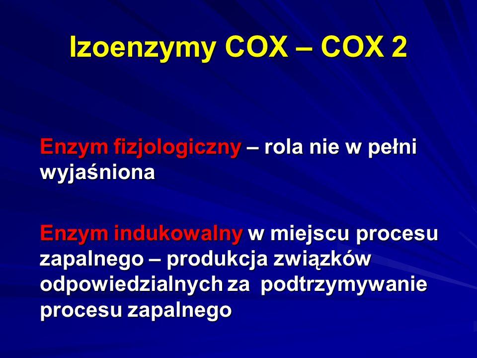 Izoenzymy COX – COX 2 Enzym fizjologiczny – rola nie w pełni wyjaśniona.