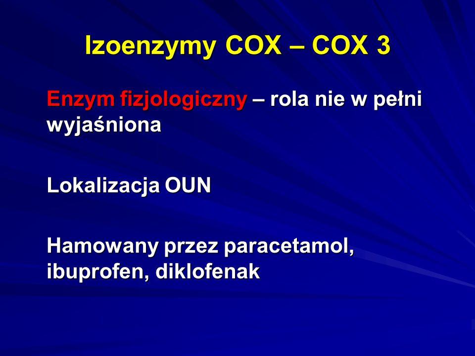 Izoenzymy COX – COX 3 Enzym fizjologiczny – rola nie w pełni wyjaśniona.