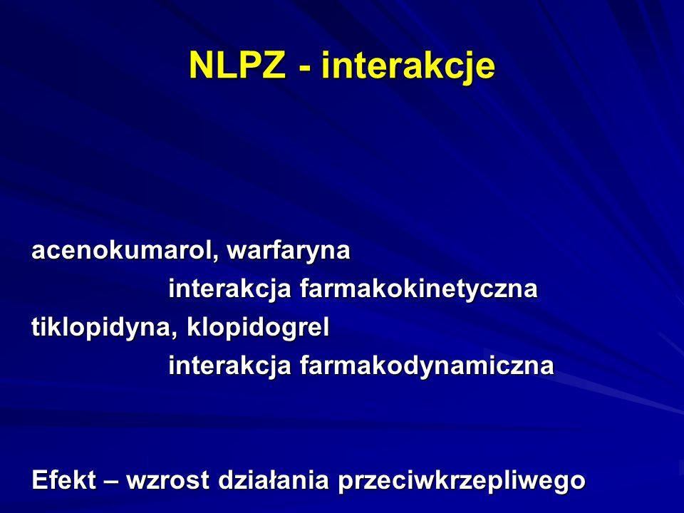NLPZ - interakcje acenokumarol, warfaryna interakcja farmakokinetyczna
