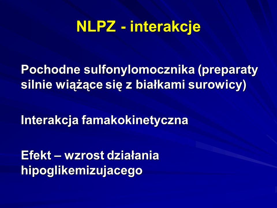 NLPZ - interakcje Pochodne sulfonylomocznika (preparaty silnie wiążące się z białkami surowicy) Interakcja famakokinetyczna.