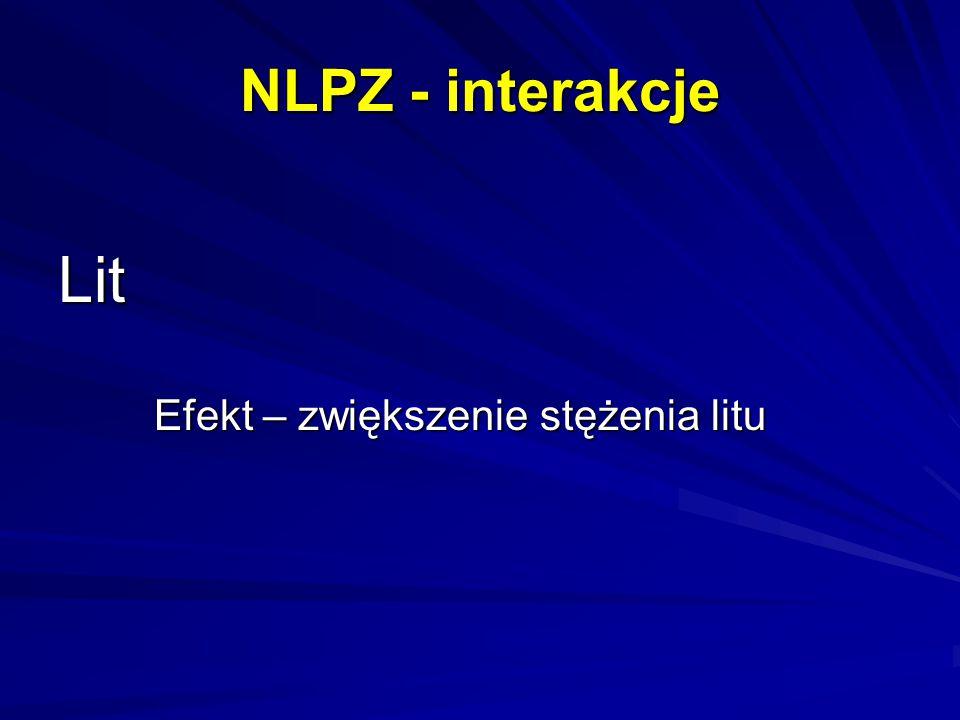 NLPZ - interakcje Lit Efekt – zwiększenie stężenia litu