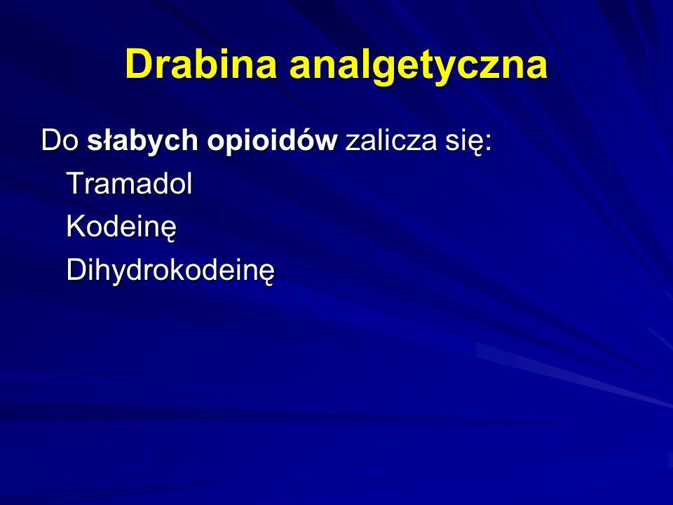 Drabina analgetyczna Do słabych opioidów zalicza się: Tramadol Kodeinę