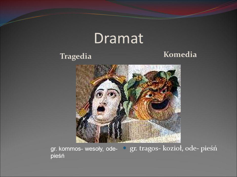 Dramat Komedia Tragedia gr. tragos- kozioł, ode- pieśń