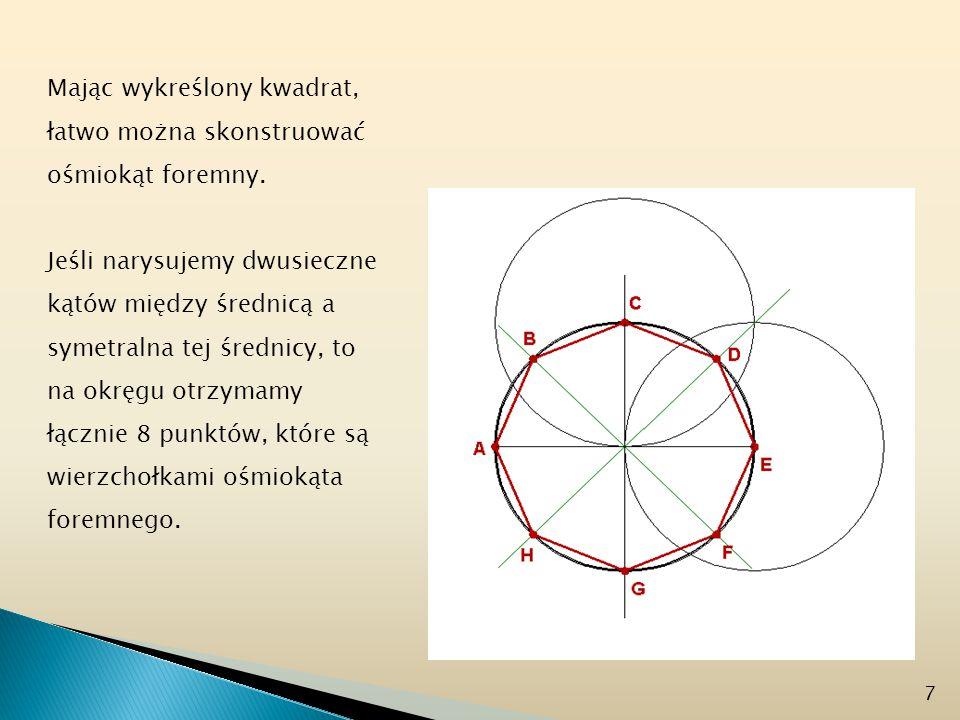 Mając wykreślony kwadrat, łatwo można skonstruować ośmiokąt foremny.