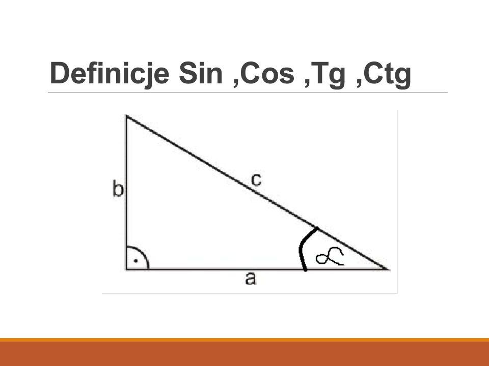 Definicje Sin ,Cos ,Tg ,Ctg