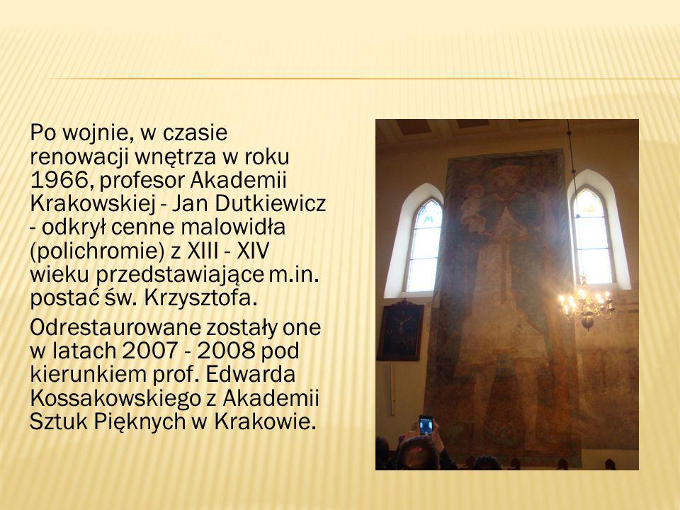 Po wojnie, w czasie renowacji wnętrza w roku 1966, profesor Akademii Krakowskiej - Jan Dutkiewicz - odkrył cenne malowidła (polichromie) z XIII - XIV wieku przedstawiające m.in. postać św. Krzysztofa.