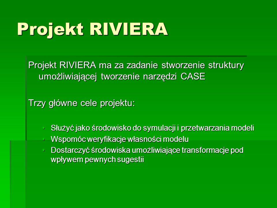 Projekt RIVIERA Projekt RIVIERA ma za zadanie stworzenie struktury umożliwiającej tworzenie narzędzi CASE.