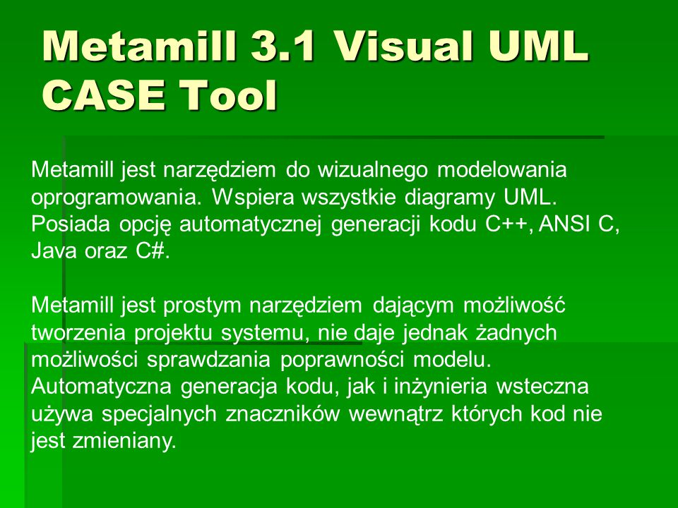 Metamill 3.1 Visual UML CASE Tool
