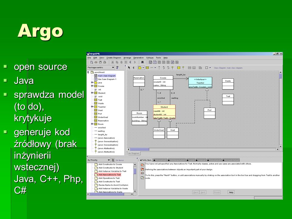 Argo open source Java sprawdza model (to do), krytykuje