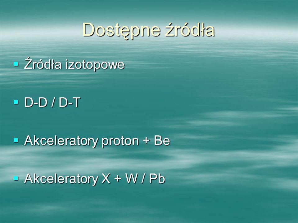 Dostępne źródła Źródła izotopowe D-D / D-T Akceleratory proton + Be